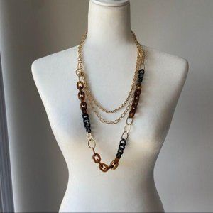 Jewelry - Chunky Statement BOHO Brown & Gold NECKLACE SET